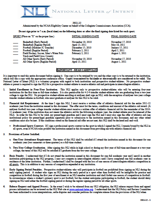 Sample Letter Of Intent For Athletic Scholarship Scholarships – Letter of Intents